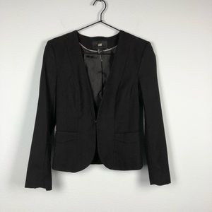 H&M • Black Fitted Collarless Blazer Jacket